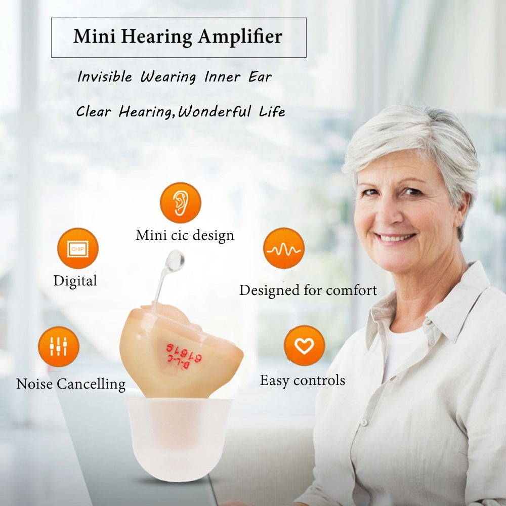 2PCS NEW CE FDA Small Iner Ear Osynligt hörselhjälpmedel CIC Mini - Sjukvård - Foto 4