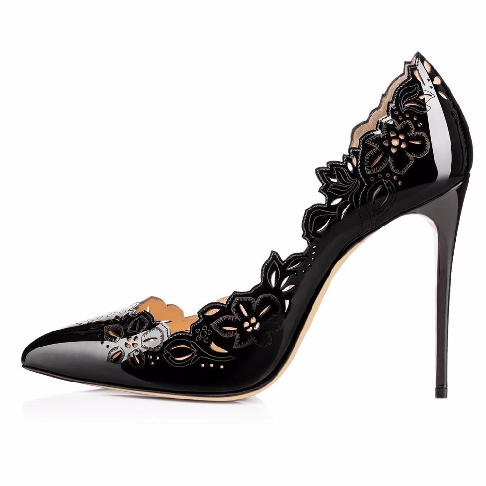 ФОТО 2016 New fashion Summer Frauen pumps stiletto high heel women's pointed toe shoes mujer cut-outs Pu leather sandals big size5-15