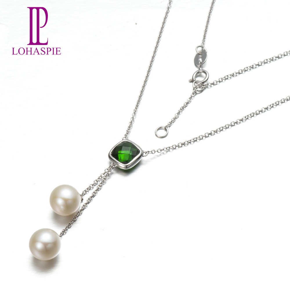 Lohaspie Solid 18K White Gold Natural Gemstone Chrome Diopside & Fresh Water Pearl Necklaces Pearl Jewelry For Mother's Gift