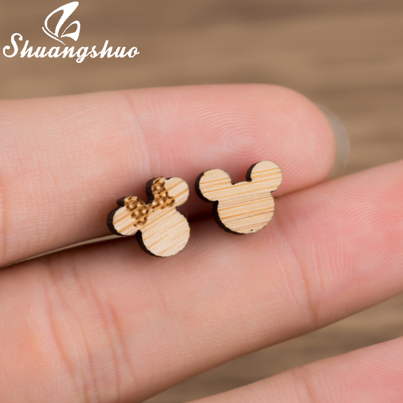 Shuangshuo Mickey and Minnie Wood Earrings Female Mickey Stud Earrings for Women Accessories Animal Mouse Earrings 2018 kolczyki