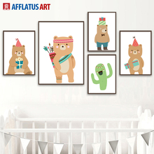 Cartoon Bear Animal Green Cactus Nordic Posters And Prints Wall Art Canvas Painting Pictures Kids Living Room Pop Decor