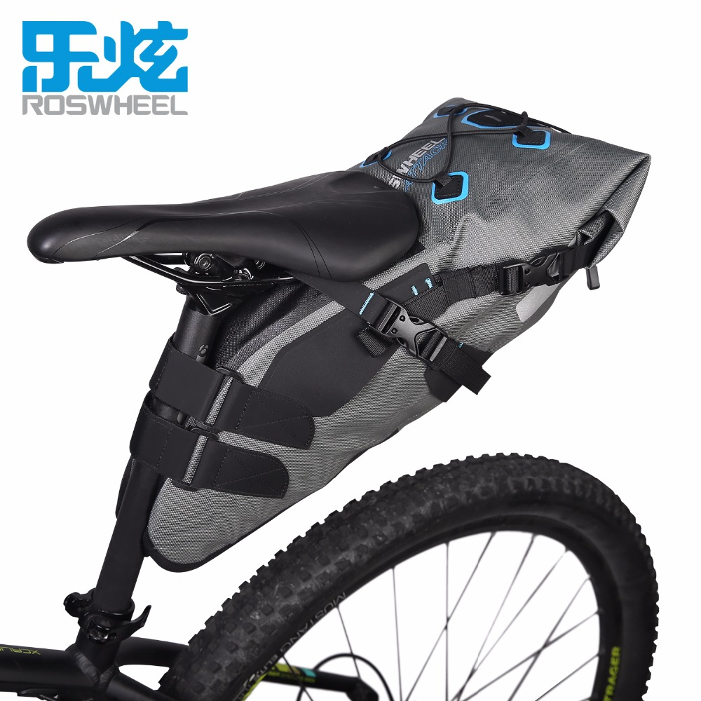 ROSWHEEL Bicycle bags 7L high capacity Bike saddle Tail bag Full waterproof 840D TPU bag Cycling equipment ATTACK SERIES roswheel 50l bicycle waterproof bag retro canvas bike carrier bag cycling double side rear rack tail seat trunk pannier two bags
