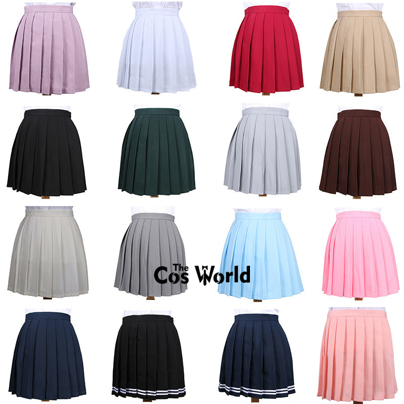 Harajuku Women's Fashion Summer High Waist Pleated Skirt School Uniform Solid Color Plaid Skirts Female Skirts Cosplay Costumes