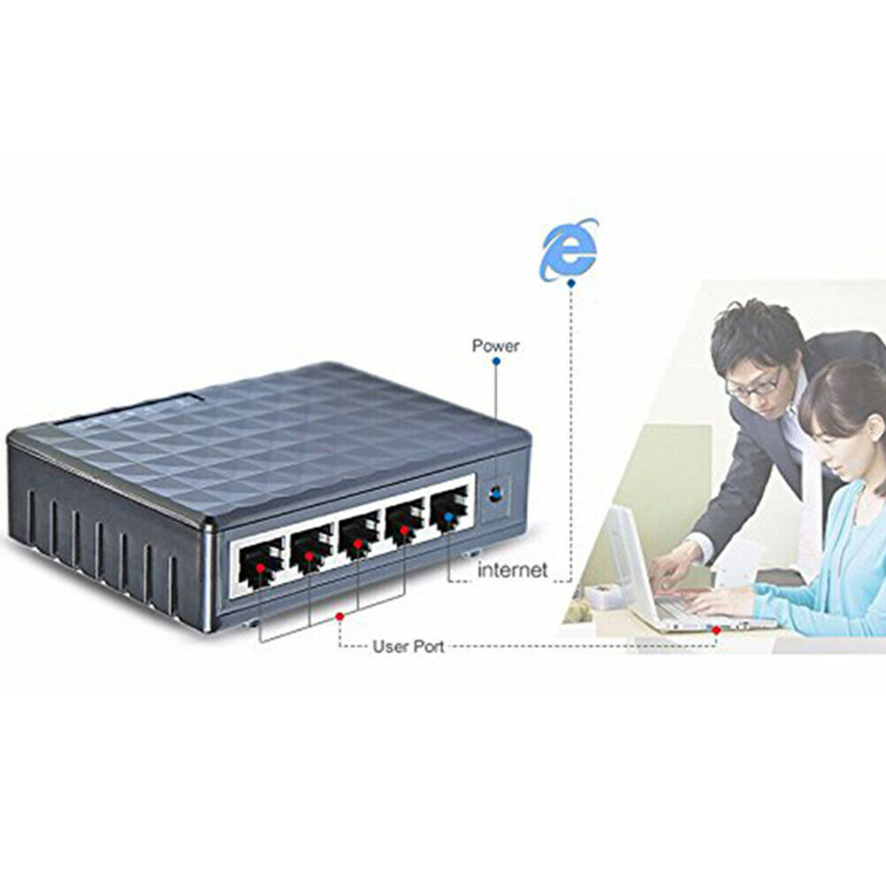 5 Port Gigabit LAN Ethernet Network Switchs Desktop Switch 10/100/1000Mbps Fast Network Switcher Full/Half Duplex Exchange
