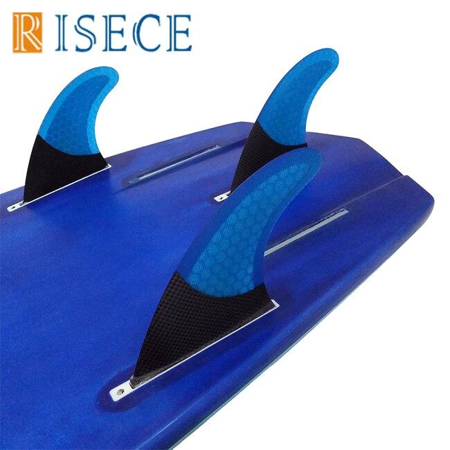 Ailerons de planche de surf demi fibre de carbone futur ailerons de surf nid d'abeille en fibre de verre G7 L taille ailerons de planche de surf future base tri ailerons 3 pièce/ensemble