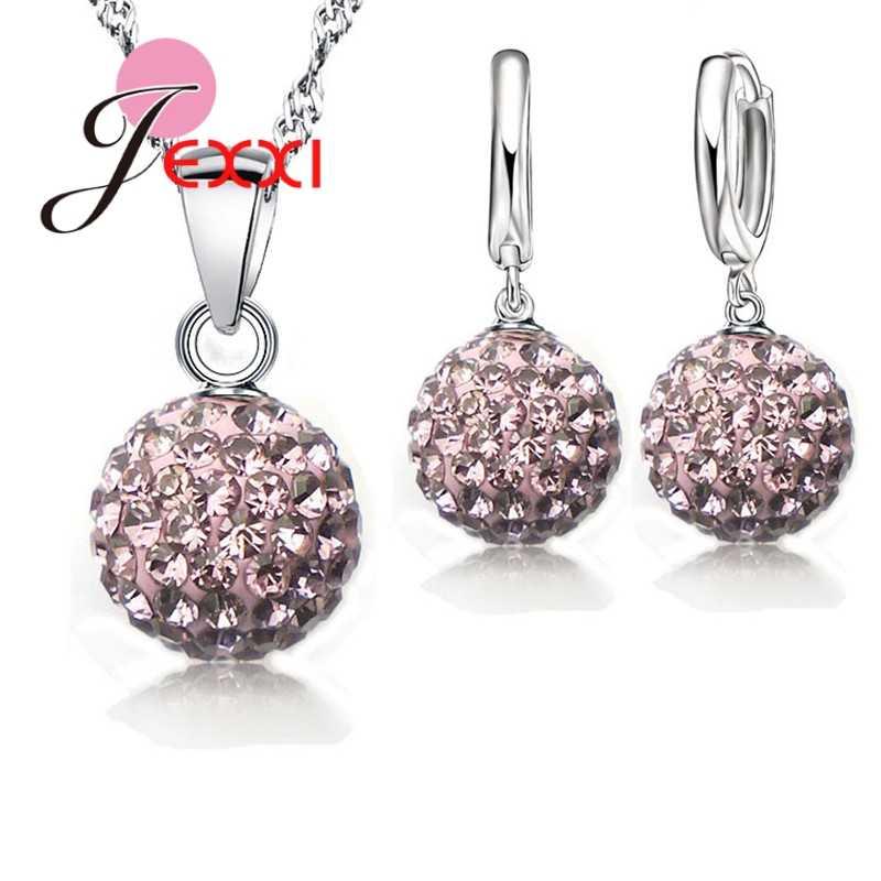 Neue Schmuck Sets 925 Sterling Silber Österreichischen Kristall Pflastern Disco Ball Hebel Zurück Ohrring Finden Anhänger Halskette Frau