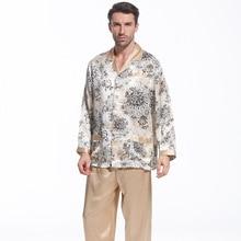 Для мужчин пижамы 100% шелковые пижамы Наборы для ухода за кожей с модным принтом осень Для мужчин пижама с длинными рукавами пижамы мужской пижамы Бесплатная доставка