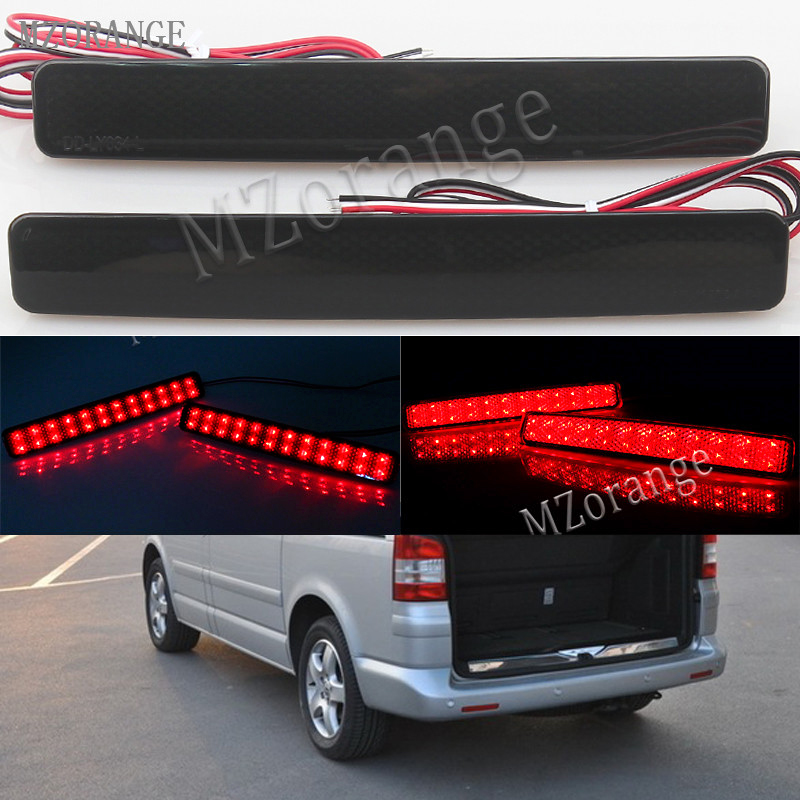 MZORANGE 2x Smoke Rear Bumper Reflector For VW T5 Transporter / Caravelle / Multivan 2003-11 LED Tail Light Stop Brake Light 2x 9006 hb4 led projector fog light drl 12w no error for volkswagen golf 6 mk6 2011 2012 scirocco 08 on t5 transporter 2003 2016