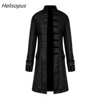 Helisopus Men Jacket Gothic Brocade Jacket Frock Coat Long Sleeve Stand Collar Steampunk Jacket Men's Vintage Slim Overcoat