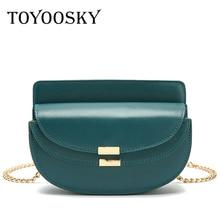 TOYOOSKY Fashion PU Leather Saddle Bag Women Luxury Shoulder Bags Small Semicircle Handbag Summer Crossbody Messenger