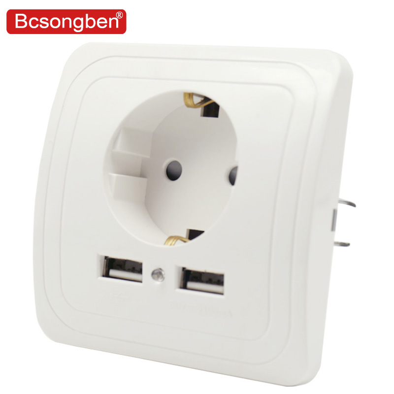Bcsongben Wall Electronic Socket Eu Standard Power Outlet With Dual Home Usb Plug, Charger Power Socket With Usb