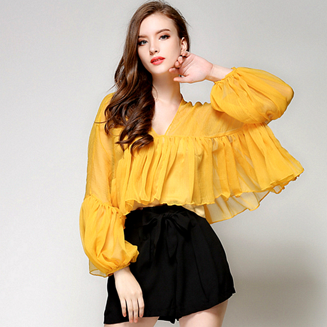 559ea6a43c3 Loose Puff Sleeve Blouses Women Perspective Solid Chiffon Ruffles V Neck Casual  Shirts 2 Colors Ladies