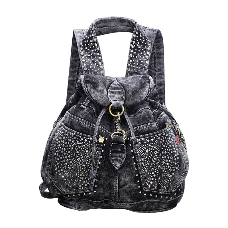 Fashion crystal drawstring denim backpack ladies designer high grade jeans cloth bags shoulder women travel backpacks