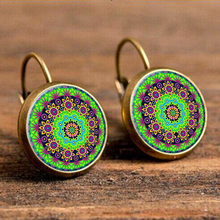 Vintage Mandala Flower Dangle Earrings for Women Bohemia Style Earring Indian Jewelry Brincos 2018 Wholesale Party Jewelry vintage kaleidoscope flower drop earring for women blue purple indian mandala pattern round eardrop wholesale brincos 2018