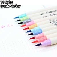 Набор кистей для 10 видов цветов, цветная маркерная ручка, мягкая Цветная кисть для каллиграфии