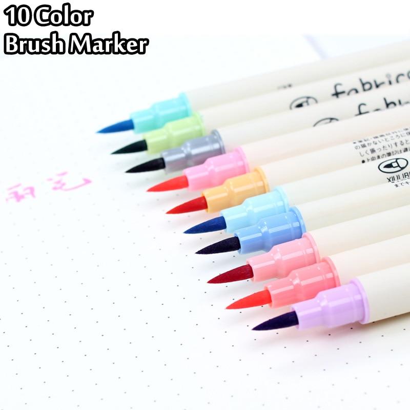 10 Colors Brush Pen Set Fabricolor Marker Pen Soft Tip Colour Brushpen Calligraphy Finecolour Brush Felt Art Markers Stationery