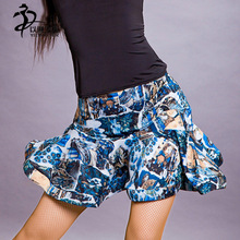 Brilliant blue Short Latin Dance Waist Skirt For Women/New Style Brilliant patterns Ballroom Latin Dance Skirt