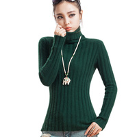 100 Mink Cashmere Ribs Pullover Womens Sweaters Classic Base Shirt Women Turtleneck Knitted Sweater Autumn Tops Winter Necessity