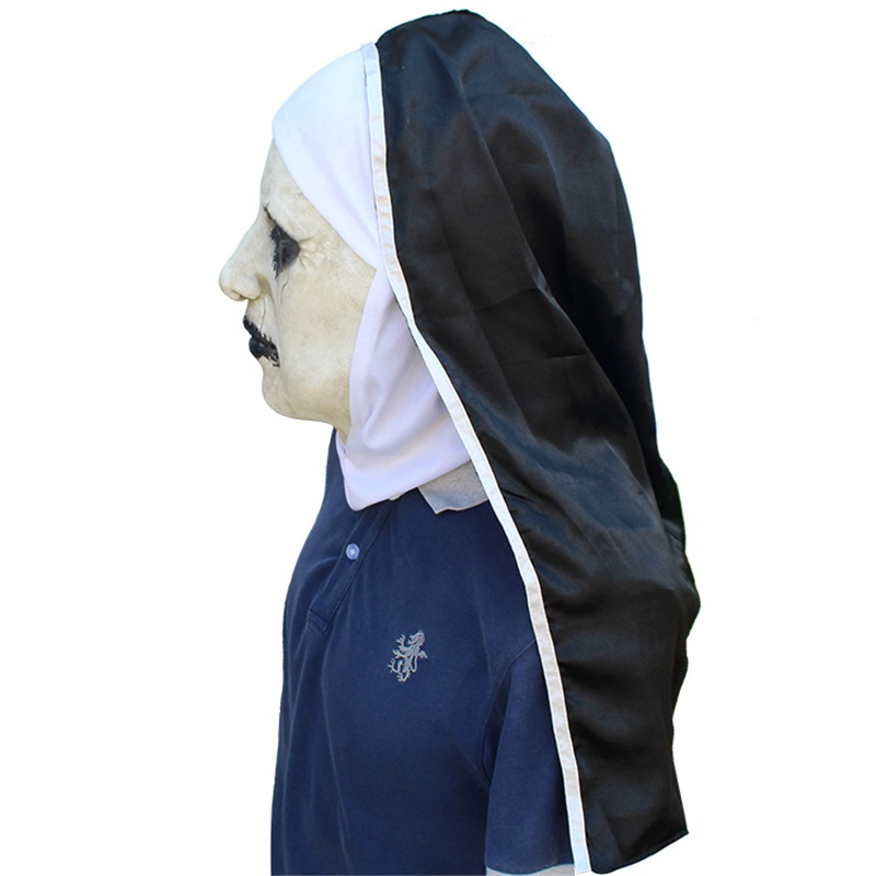 new The Nun Horror Mask Cosplay Valak Scary Latex Masks With Headscarf Full Face Helmet Halloween Party Props The Conjuring 2018 4