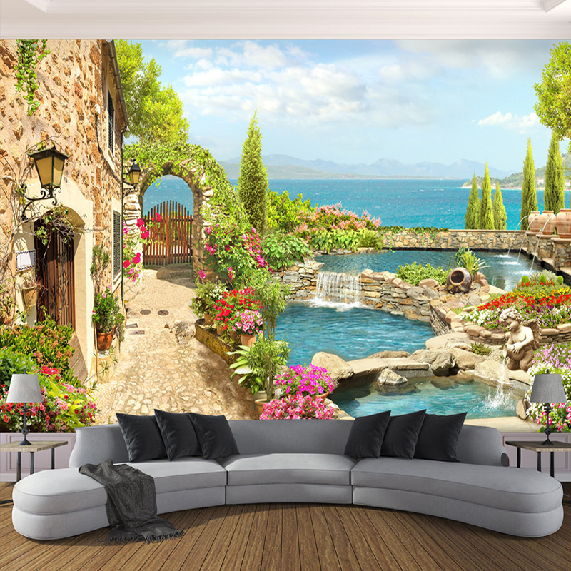 High Quality Custom 3D Photo Wallpaper For Bedroom Walls 3D Garden Landscape Background Wall Painting Home Decor Living Room