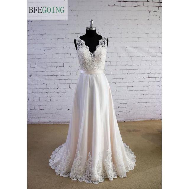 Ivory Tulle Lace A Line Floor Length V Neck Wedding Dress Sweep