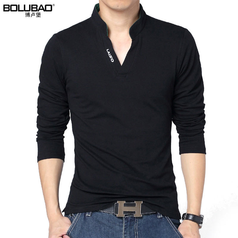 BOLUBAO nieuwe collectie lente merk polo shirt mannen mode effen kleur lange mouw polo mannen casual slim fit heren shirt