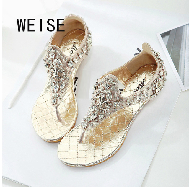 WEISE Free shipping 2017  Rhinestones Sandals shoes women Thong Sandals Roman Female Low-Heeled Comfortable Shoes Tide 3651-3