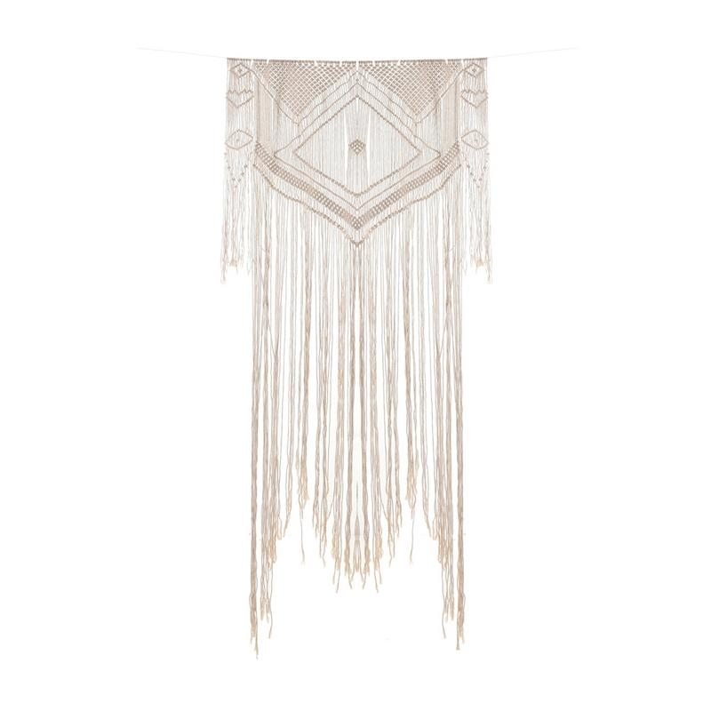 Rectangle Tassel Tapestry - Nordic Style Purely Hand-Woven Cotton With Lace Fabrics Art Bohemian Wedding Decoration For Gift