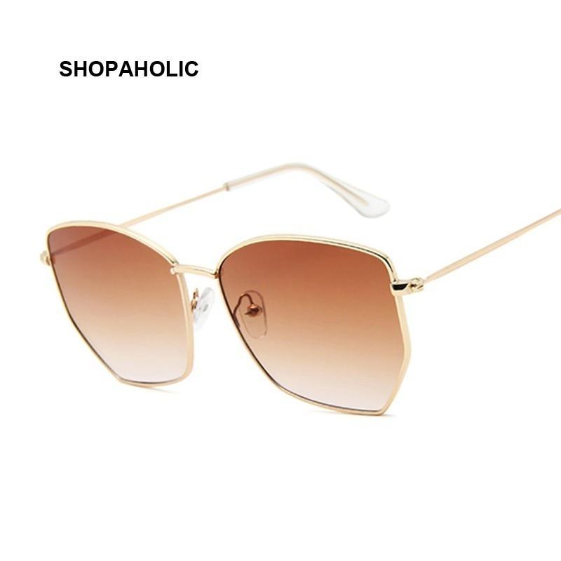 Women Cat Eye Sunglasses Cute Sexy Brand Designer Summer Retro Oversized Frame Black Yellow Cateye Sun Glasses Female