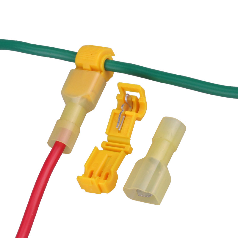 Connectors Contacts Electrical Male Yellow 22-10AWG 50PCS Wire-Terminals Spade Quick-Splice