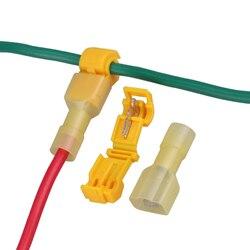 شحن مجاني جديد 50 قطعة الأصفر سريعة لصق محطات الأسلاك و ذكر بأسمائها الحقيقية موصلات 2.5-4 مللي متر 22-10AWG الاتصالات الكهربائية