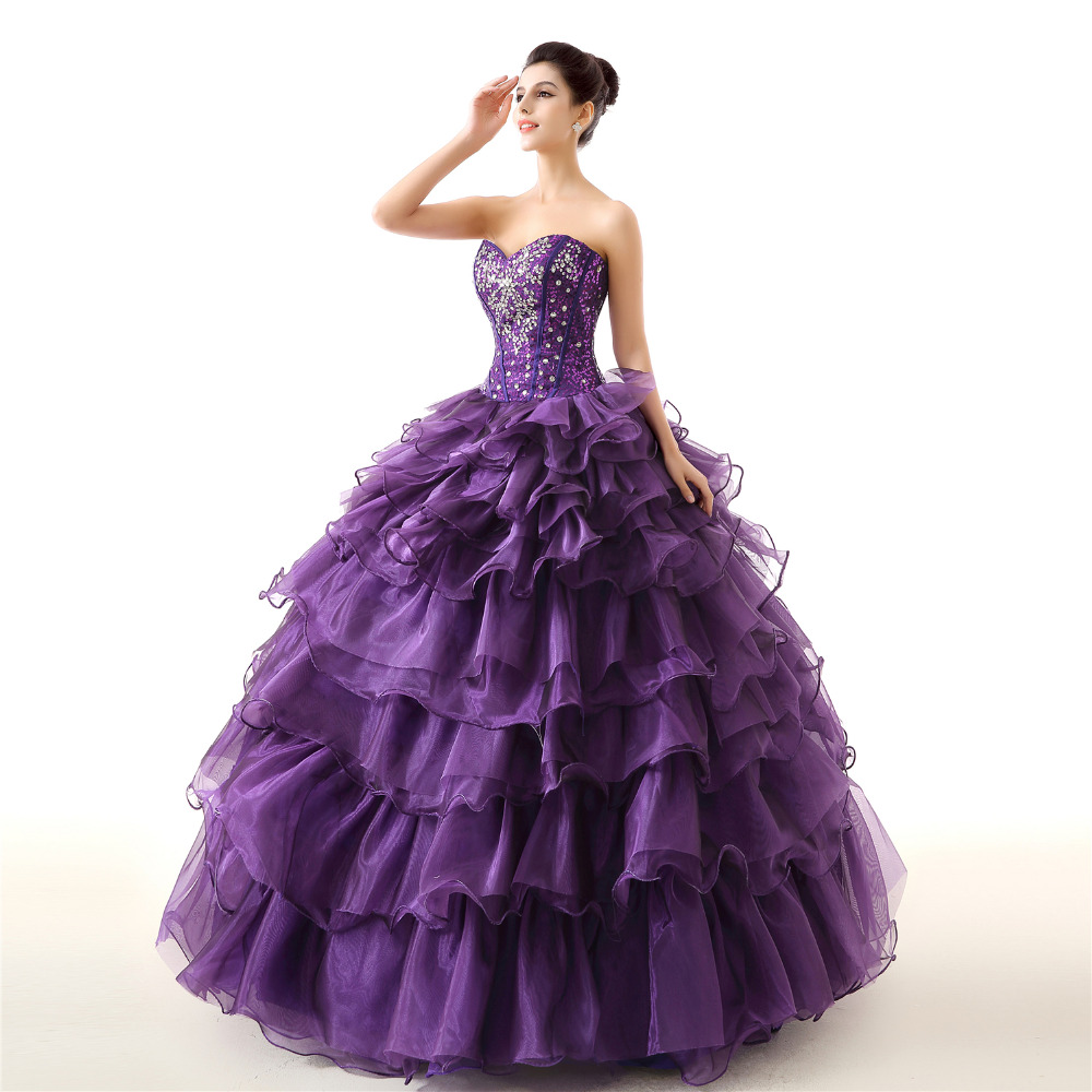 GSBRIDAL Purple Off the Shoulder Sweetheart Ruffle Skirt Beading Prom Dress