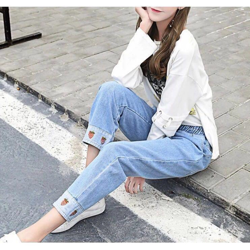Skinny Spandex Straight Sexy Jeans Women High Waist  Ankle-Length Casual Cargo Pocket Embroidery Pants Loose Size 2019 Top Denim