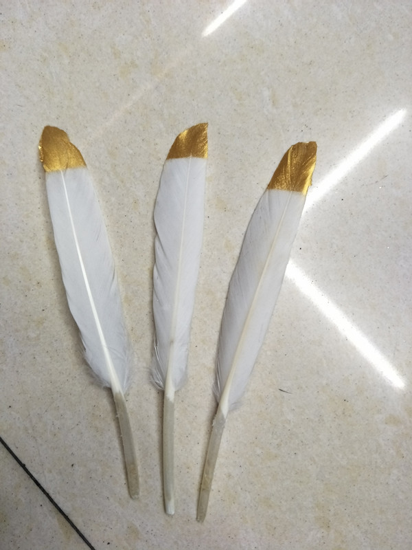 GOLD dipped natural white feathers - metallic gold hand painted duck feathers, loose white gold / 9-14cm long,100pcs/lot