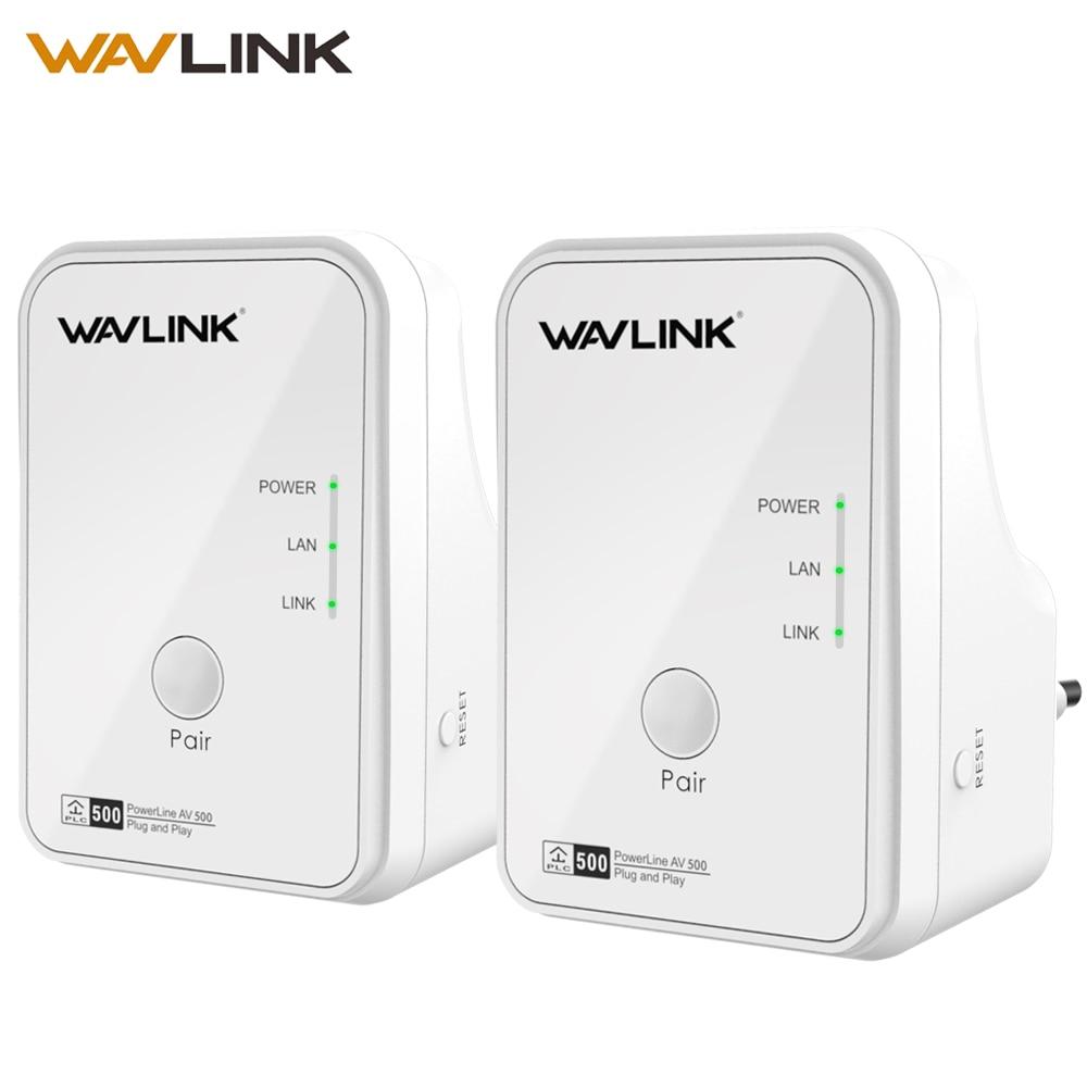 Wavlink 1 Paire 500 Mbps Puissance ligne Réseau Adaptateur Ethernet PLC adaptateur Kit Homeplug AV Plug and Play IPTV Powerline AV500 L'UE/NOUS