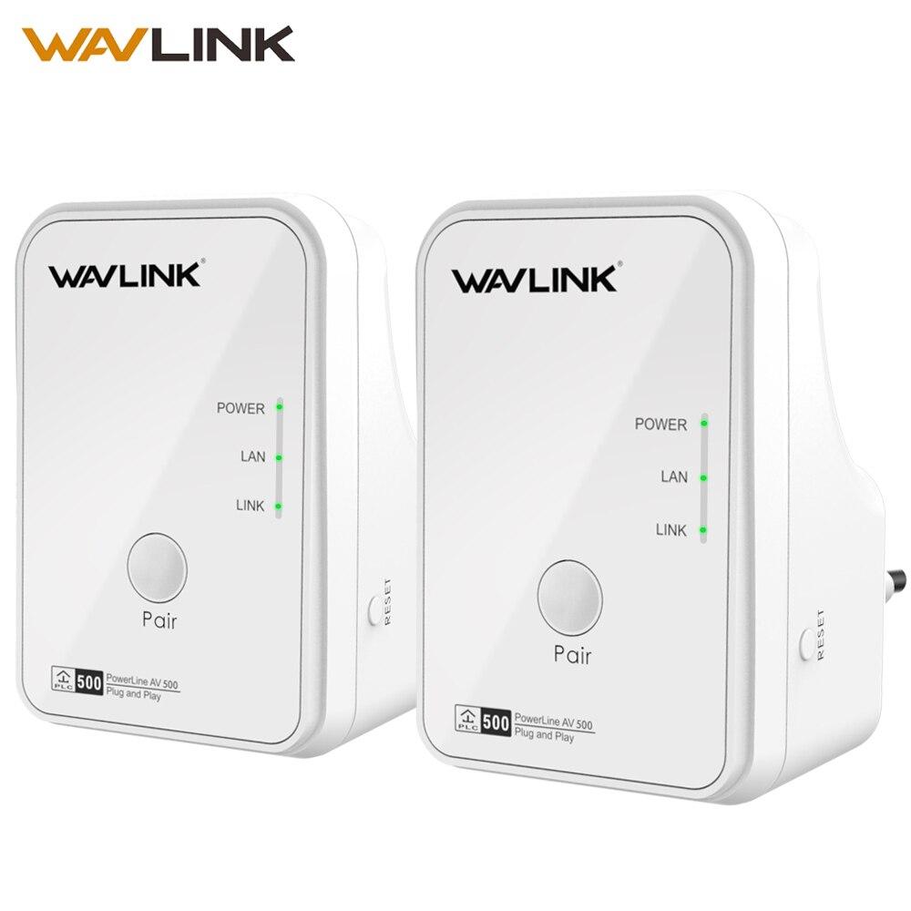Wavlink 1 paire 500 Mbps adaptateur réseau de ligne électrique Ethernet adaptateur PLC Kit Homeplug AV Plug and Play IPTV Powerline AV500 EU/US