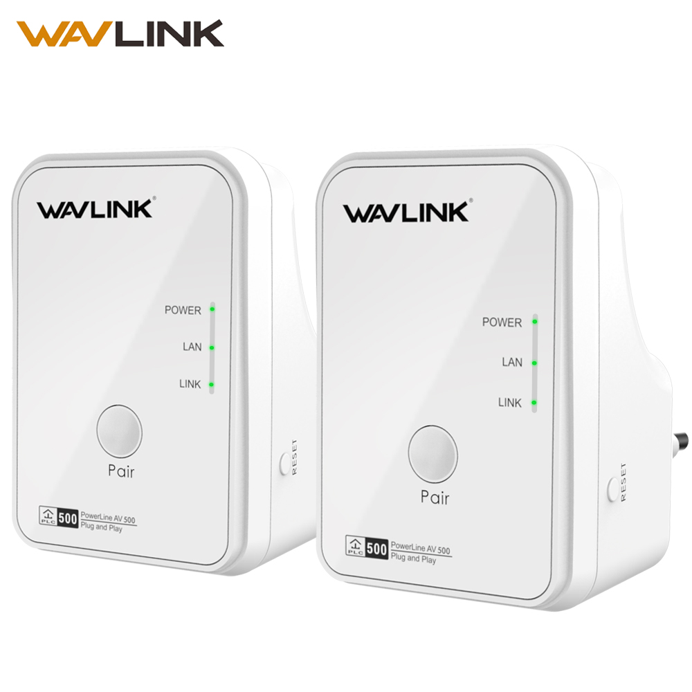 Wavlink 1Pair 500Mbps Power line Network Adapter Ethernet PLC adapter Kit Homeplug AV Plug and Play IPTV Powerline AV500 EU/US wavlink newest a pair powerline av1200 extender power line ethernet adapter dual band wired access point with gigabit port mimo page 1