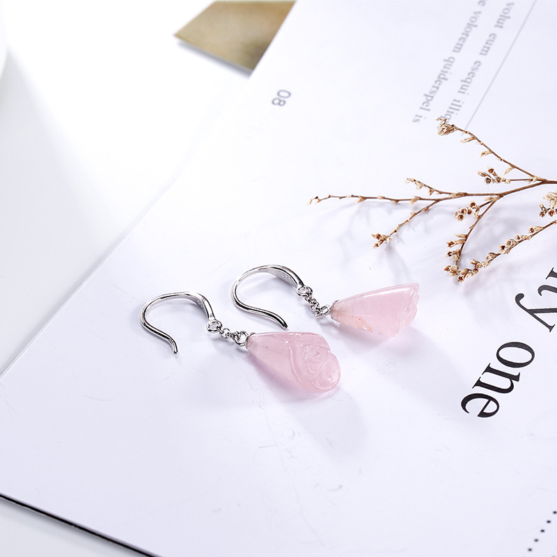 L&P New Fashion Rose Quartz 925 Sterling Silver Drop Earrings For Women Girl Pink Gemstone Earrings Fine Jewelry Wholesale wholesale new fashion trendy 925 sterling silver zircon natural gemstone crystal green diopside pendant drop earrings for women