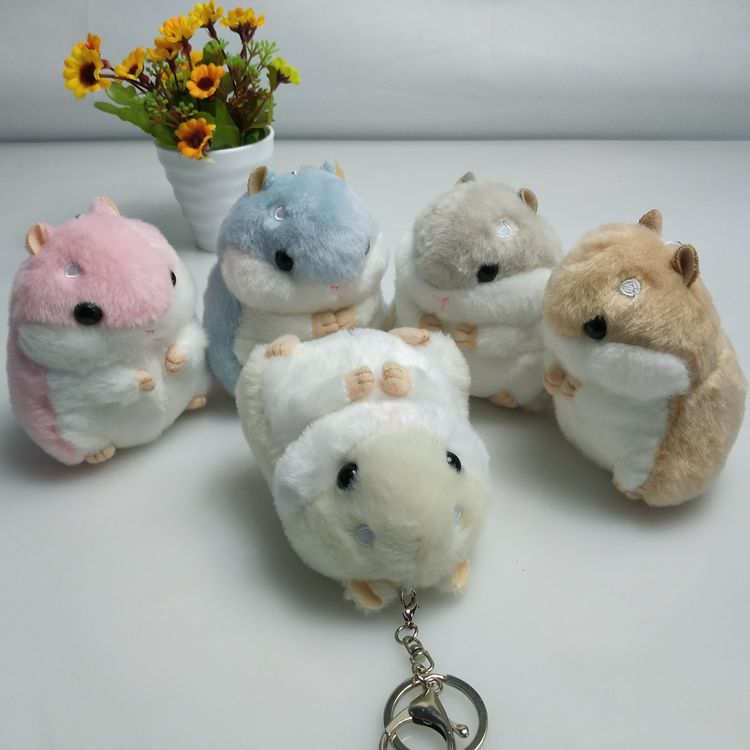 30 pcs lot Hamster Plush Key Chains Ring Toys kawaii Lively Keychain Mouse Animal pendants toy