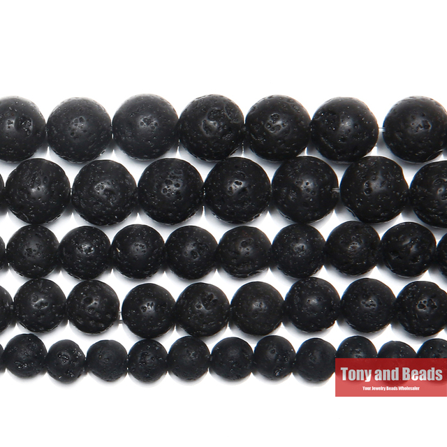 Free Shipping Natural Stone AA Quality Volcano Lava Round Loose Beads 15