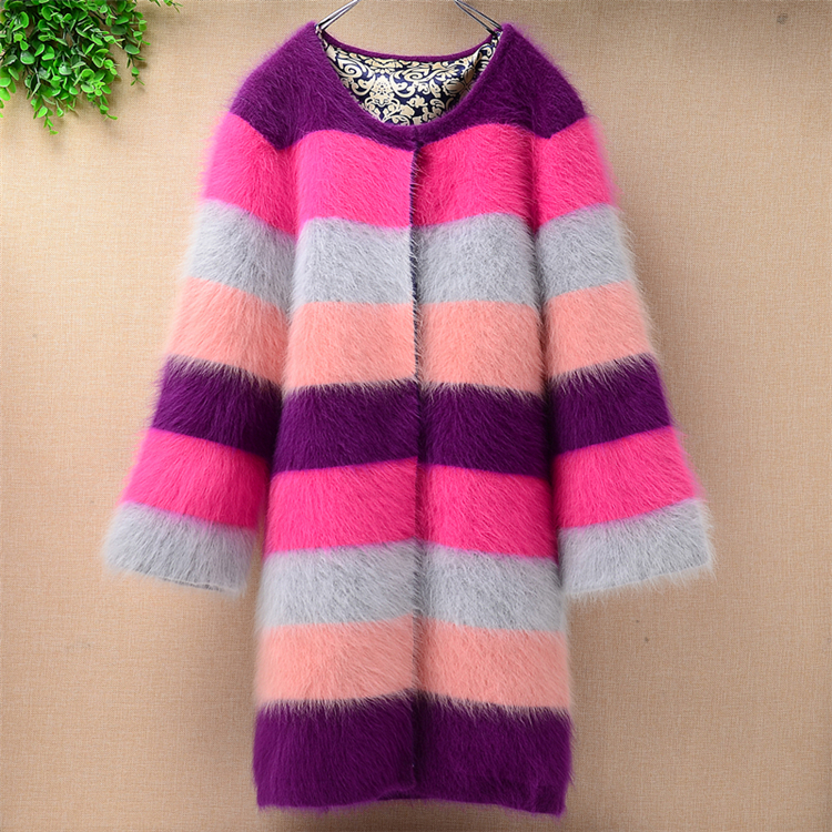 Thicken Warm Winter Fluffy Genuine Fuzzy Hairy Mink Cashmere Stripes Coloured Cardigan Ladies Women Slim Angora Fur Sweater Coat