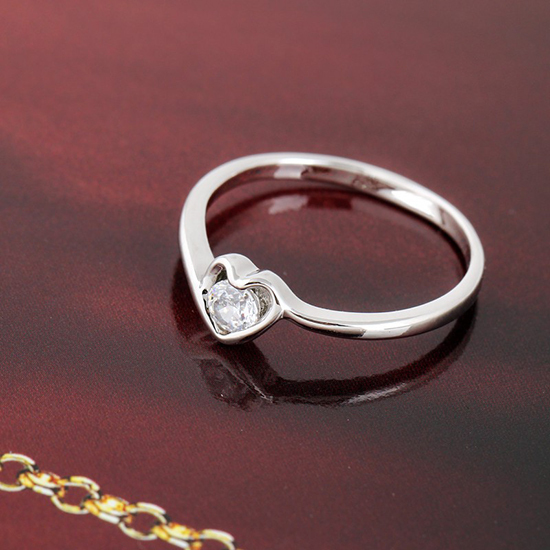 new fashion wedding rings plated 18k real gold with crystal elegant cute heart ring - Cute Wedding Rings