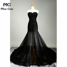 New Arrival 2018 Illusion Mermaid Prom Dresses with Appliques Sweetheart Black Formal Women's Evening Dresses Mother Dress