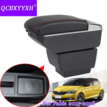 QCBXYYXH Car Styling PU Leather Car Armrest For Skoda Fabia 2015-2018 Central Storage Box Cover Interior With Cup Holders Case