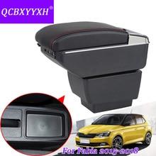 QCBXYYXH стайлинга автомобилей из искусственной кожи автомобиля подлокотник для Skoda Fabia 2015-2018 центральный коробка для хранения Обложка интерьер с чашкой держатели Дело