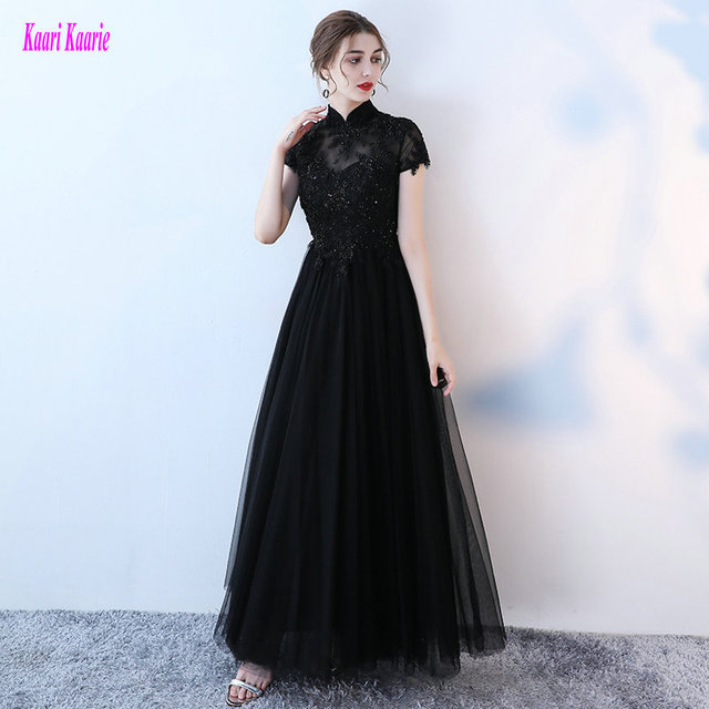 Unique Black Evening Dresses 2018 New Sexy Dark Navy Evening Gowns