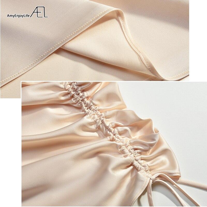 AEL vestido sin espalda sexy Vestido de satén de corte bajo para mujer elegantes vestidos con cordones ceñido al cuerpo verano 2019 Club Street Wear - 6