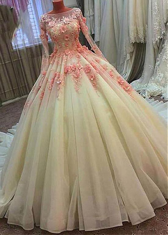 Long Sleeves Vestido De Noiva 2019 Muslim Wedding Dresses Ball Gown Tulle Flowers Beaded Boho Dubai Arabic Wedding Gown Bridal