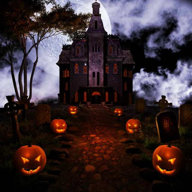 10x10ft halloween church pumpkins path grand entrance graveyard tomb custom photo backdrop studio background vinyl 300cm