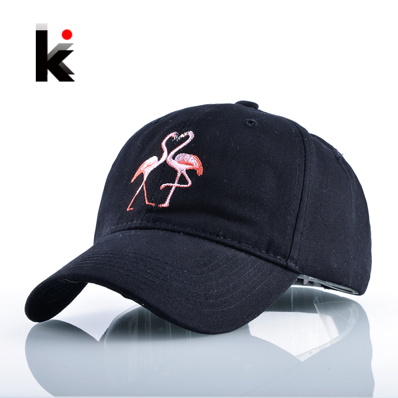 New Fashion Unisex Snapback Sun Hat Flamingoe Embroidery Cotton Baseball Caps Women Men Solid Color Dad Hats Casquette Homme new 2017 hats for women mix color cotton unisex men winter women fashion hip hop knitted warm hat female beanies cap6a03